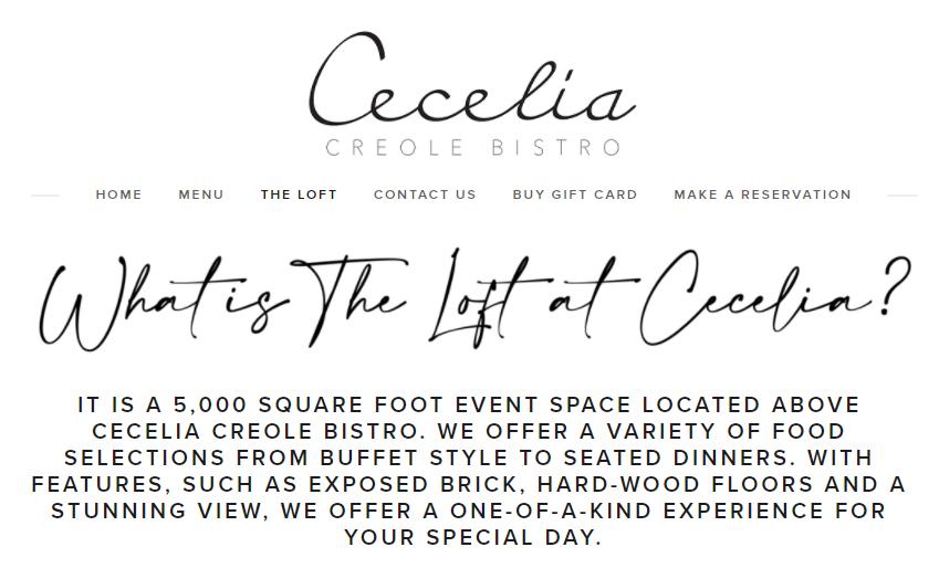 2020 The Loft Listing_ Cecelia Creole Bistro 849 x 514